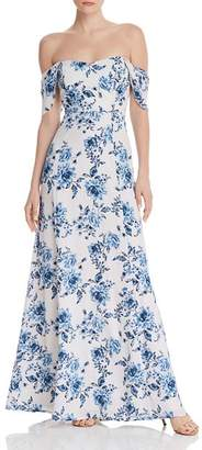 WAYF Rachel Floral Cold-Shoulder Dress