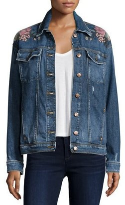 Joe's Jeans The Bella Embroidered Denim Jacket, Kaya $278 thestylecure.com