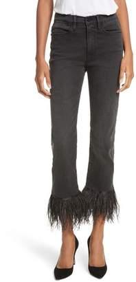 Frame Le High Straight High Rise Feather Hem Jeans
