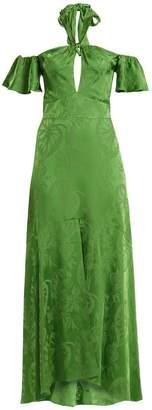Temperley London Orbit tie-neck leaf-jacquard satin gown