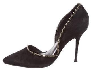 Anne Fontaine Suede Zipper-Accented Pumps