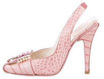 Christian Dior Embossed Slingback Pumps