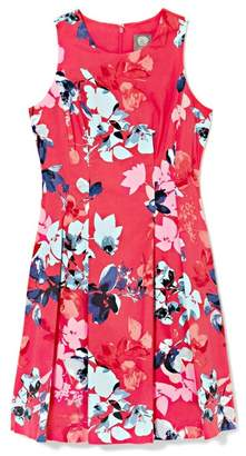 Vince Camuto Floral-print Pleated Fit & Flare Dress