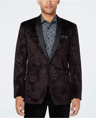 Tallia Men Slim-Fit Burgundy Floral Velvet Dinner Jacket
