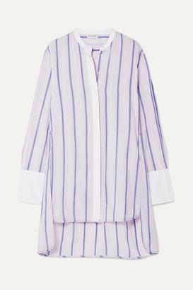 By Malene Birger Micki Oversized Poplin-trimmed Striped Cotton-blend Voile Tunic - Pastel pink