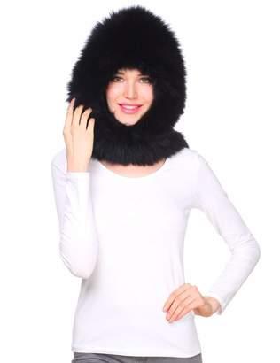 Ferand Women's Real Knit Fox Fur Scarf Wrap with Hood