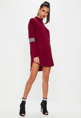 Missguided Burgundy Sports Trim High Neck Shift Dress