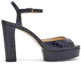 Jimmy Choo Peachy 105 Crocodile Effect Leather Platform Heels - Womens - Navy