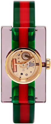 Gucci Red & Green Plexiglass Skeleton Watch $560 thestylecure.com