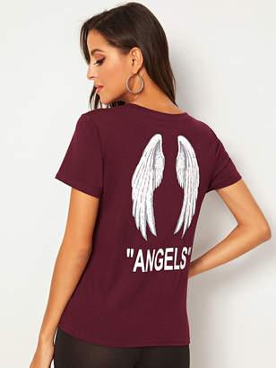 Shein Angel Wings & Letter Print Tee