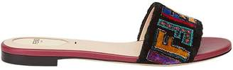 Fendi flat fabric sandals