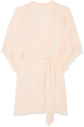 Eberjey Esperanza Lace-trimmed Stretch-modal Jersey Robe - Blush