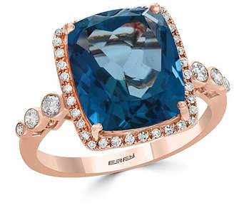 Bloomingdale's London Blue Topaz & Diamond Bezel Ring in 14K Rose Gold - 100% Exclusive