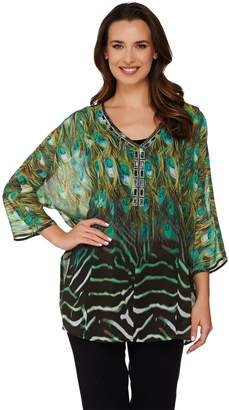 Dennis Basso Placement Print Top with Rhinestones and Tank