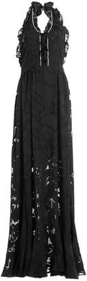 Preen by Thornton Bregazzi Floor Length Ruffled Dress with Crystal Embellishment