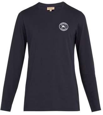 Burberry Jensen Long Sleeved Cotton T Shirt - Mens - Navy