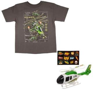 "Bioworld Glow-In-The-Dark ""Ready For Battle"" Short Sleeve Graphic Tee Including Toy Helicoptor Gift With Purchase (Little Boys & Big Boys)"