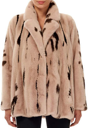 Gorski Jaguar-Print Mink Fur Jacket w/ Notch Collar