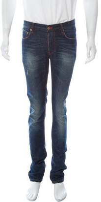 Raf By Raf Simons Distressed Five-Pocket Skinny Jeans