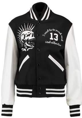 R 13 Vintage Varsity Leather-Paneled Embroidered Wool-Blend Jacket
