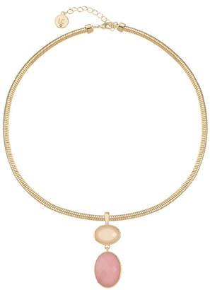 Liz Claiborne Womens Pink Oval Pendant Necklace