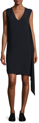 Helmut Lang Sleeveless Draped Crepe Shift Dress, Navy