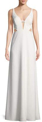 Aidan Mattox Crepe Cutout Sleeveless Gown
