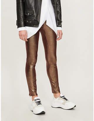 J Brand Metallic snake-skin coated leather jeans