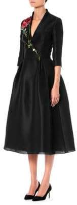 Carolina Herrera Silk Embroidered Fit-And-Flare Dress
