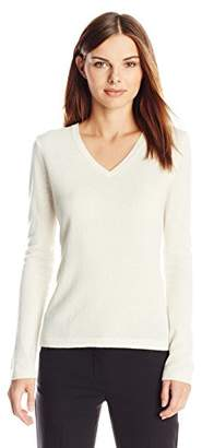 Lark & Ro Women's 100% Cashmere Slim-Fit V-Neck Sweater