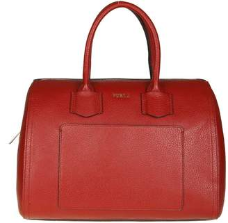 Furla alba Hand Bag In Cherry Color Leather