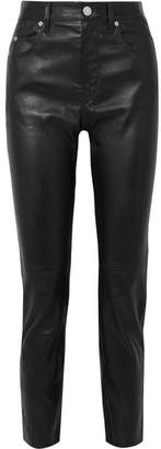 Isabel Marant Minlow Stretch-leather Slim-leg Pants - Black