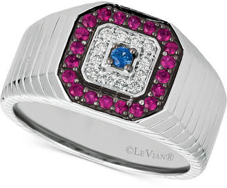 LeVian Le Vian Gents Men's Multi-Gemstone & Diamond (1/8 ct. t.w.) Ring in 14k White Gold