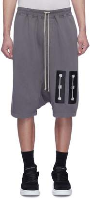 Rick Owens Graphic patch drop crotch sweat shorts