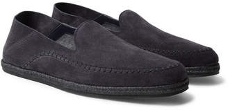 Ermenegildo Zegna Collapsible-Heel Suede Espadrilles - Men - Midnight blue