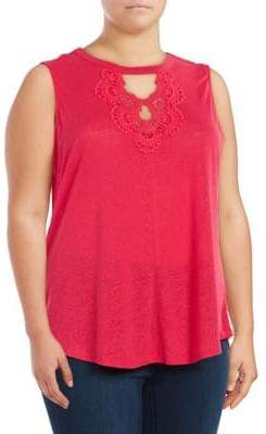 Jessica Simpson Plus Crochet Sleeveless Top