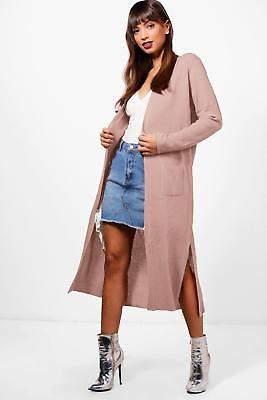 boohoo NEW Womens Half Rib Sleeve Maxi Cardigan in Acrylic