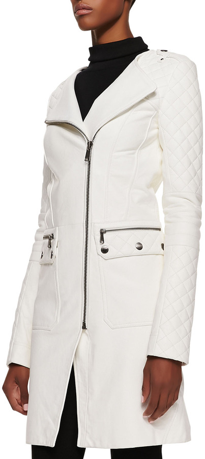Richard Chai Andrew Marc x Asymmetric 3/4-Length Leather Jacket