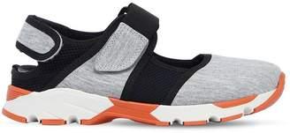 Cotton Jersey & Mesh Strap Sneakers