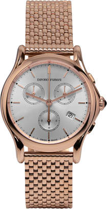 Emporio Armani Swiss Unisex Swiss Chronograph Rose Gold Ion-Plated Stainless Steel Bracelet Watch 36mm ARS6009