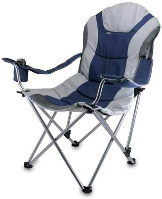 Picnic Time Navy/Silver Grey Reclining Camp Chair
