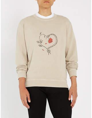 Saint Laurent Heart rose-print cotton-jersey sweatshirt