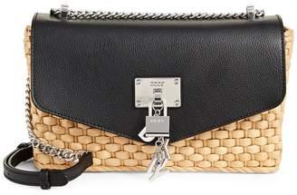 DKNY Elissa Straw Crossbody Shoulder Bag