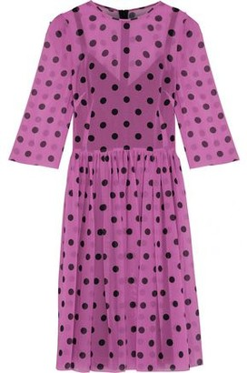 Dolce & Gabbana Pleated Polka-Dot Silk-Blend Georgette Dress