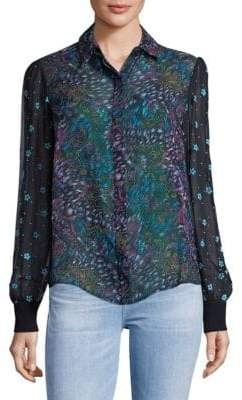 Saloni Printed Silk Button-Down Shirt