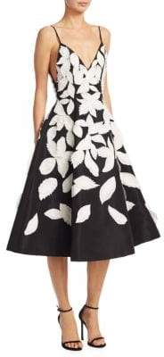 Oscar de la Renta Silk Leaf Dress