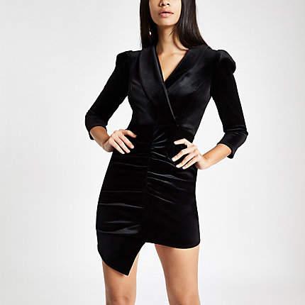 Womens Black velvet ruched front bodycon dress