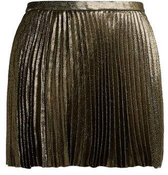 Saint Laurent Damier Pleated Silk Blend Mini Skirt - Womens - Black Gold