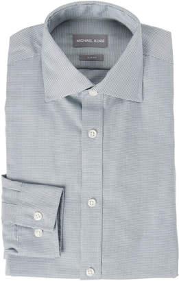 Michael Kors Emerald Micro Herringbone Slim Fit Shirt