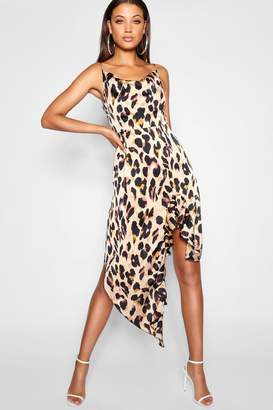 boohoo Tall Ruffle Strap Leopard Print Wrap Dress